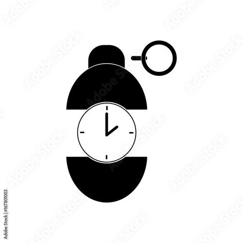 black vector icon on white background grenade time to explode stock rh fotolia com