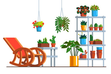 Home garden orangery or patio with room plants