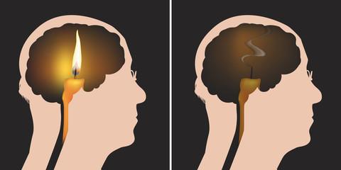 mort - Alzheimer - cerveau - symbole - neurone - médecine - maladie - énergie - santé