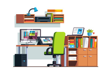 Illustrator and designer room with graphic tablet