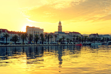 Split city view at golden hour from the side of sea - Dalmatia, Croatia