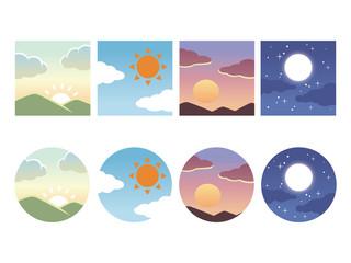 時間帯 空のアイコン 朝・昼・夕・夜