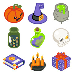 Isometric 3d halloween witch magic icons set isolated flat design line art vector illustration