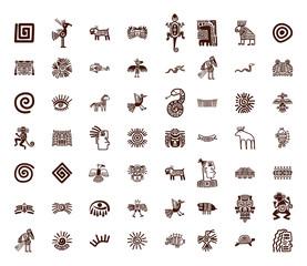 Brown tribal symbols set