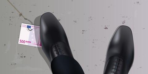 chance - piège - billet de banque - chaussure -argent - trouver - vue de dessus