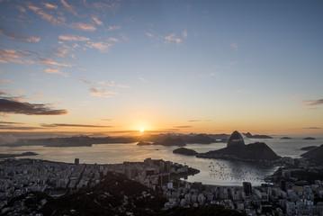 Rio de Janeiro city coastline at dawn seen from Mirante Dona Marta, Brazil