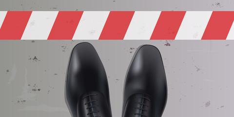 Ligne - stop - limite - frontière - obstacle, chaussure - homme - vue du dessus