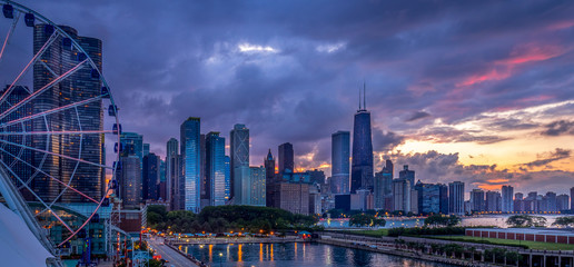 Aluminium Prints Chicago Sunset on the Lakeshore