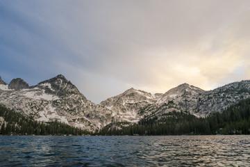 Toxoway Lake and Sawtooth Mountains at sunset