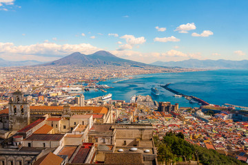 Fotorolgordijn Napels Naples Cityscape - Stunning panorama with the Mount Vesuvius