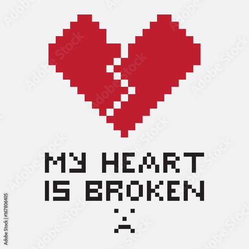 An illustration in the form of a pixelated broken heart, the