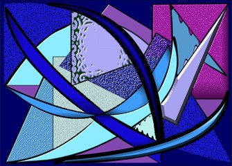abstract  composition ,fancy geometric shapes,pieces of glass on blue background