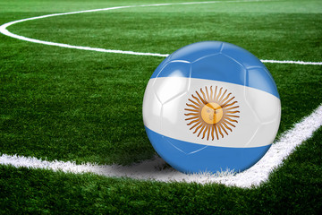 Argentina Soccer Ball on Corner of Field at Night