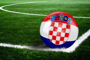 Croatia Soccer Ball on Corner of Field at Night