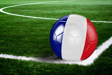 France Soccer Ball on Corner of Field at Night