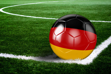 Germany Soccer Ball on Corner of Field at Night