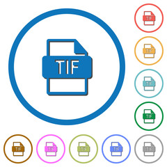 TIF file format icons with shadows and outlines