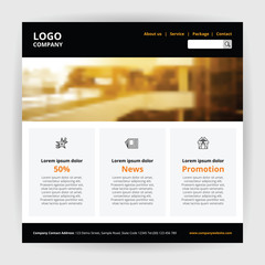 Website one page easy template, black header with logo company menu search, line icon three block layout, orange light gray color theme and demo text box, big building banner on top homepage vector.