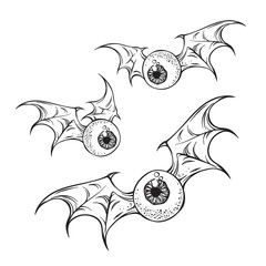 Flying eyeballs with creepy demon wings hand drawn black and white halloween theme print design isolated vector illustration