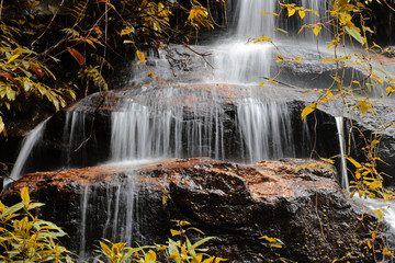Beautiful waterfall in autumn. Beautiful waterfall landscape.