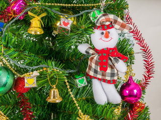Snow man and accessories decorated with Christmas tree