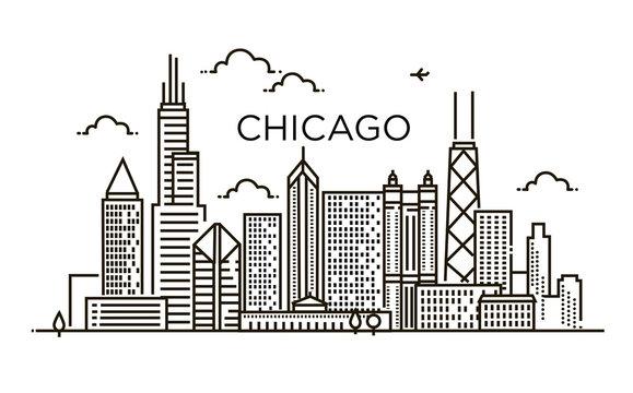Linear banner of Chicago city. Line art.