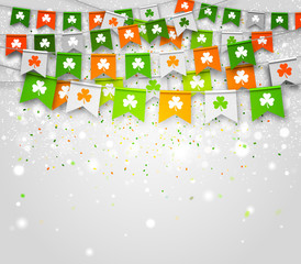 Saint Patrick's Day greeting card. Holiday poster. Colorful garlands of flags with clover on grey background. Illustration can be used for web, banners, advertising and invitation party