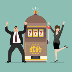 Slot machine jackpot with celebrate businessman and woman