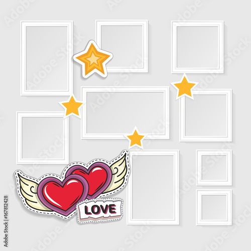 Realistic photo frames for image and photo on white background. Love ...
