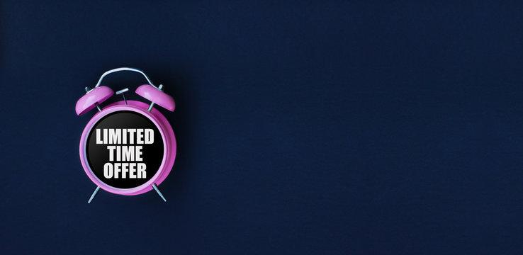 Limited time offer. Pink alarm clock on black background. Dark blue web banner for black friday, sale, discount poster, store promotion