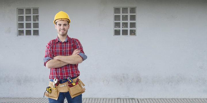 builder construction on background