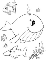 Cute Whale Vector Illustration Art