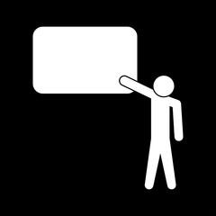 Teacher standing near whiteboard white color icon .
