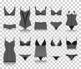 Lingerie set. Silhouette icons with reflection on transparent background. Vector illustration.