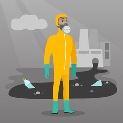 Caucasian man in gas mask and radiation protective suit standing on the background of nuclear power plant. Scientist wearing radiation protection suit. Vector flat design illustration. Square layout.