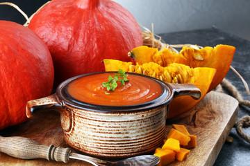 Pumpkin soup with fresh autumn hokkaido pumpkins