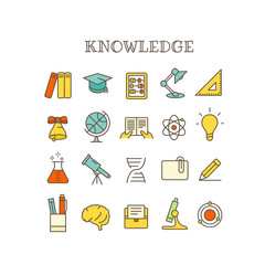 Different knowledge thin line color icons vector set