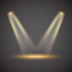 Zelfklevend Fotobehang Licht, schaduw Podium with projectors. Vector layout