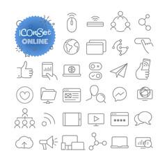 Outline icon set. Vector pictogram set. Online