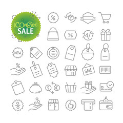 Outline icon set. Web and mobile app thin line icons. Sale and discount
