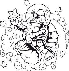 Cartoon funny astronaut collects stars