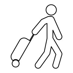 Man with suitcase black color icon .