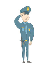 Caucasian police officer in uniform gives salute. Full length of young police officer saluting. Serious police officer saluting. Vector sketch cartoon illustration isolated on white background.
