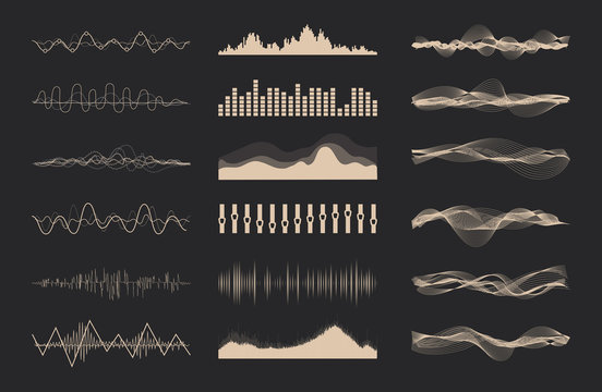 Vector music sound waves set. Audio digital equalizer technology, console panel, pulse musical.