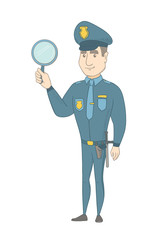 Caucasian policeman holding a hand mirror. Full length of young policeman showing a hand mirror. Happy policeman with a hand mirror. Vector sketch cartoon illustration isolated on white background.