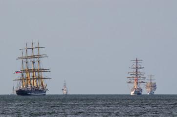 SAILING SHIPS - Kruzensztern, Dar Mlodziezy and Shabab Oman in the parade of sailing ships at sea