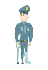 Injured policeman with broken leg on crutches. Full length of young caucasian policeman with broken leg in bandages. Vector sketch cartoon illustration isolated on white background.