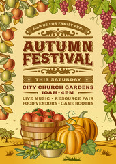 Vintage Autumn Festival Poster. Editable vector illustration in retro  woodcut style with clipping mask.