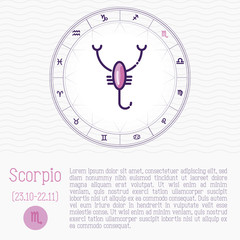 Scorpio in zodiac wheel, horoscope chart with place for text. Thin line vector illustration.