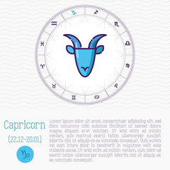 Capricorn in zodiac wheel, horoscope chart with place for text. Thin line vector illustration.